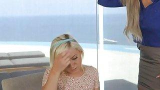 Blonde Cleo having a lesbian sex with her bfs stepmom Nina