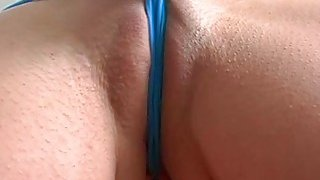 Little slut with a taut pussy shows us camel toe