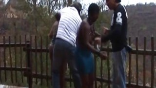 African chicks gets nipples clipped outdoors