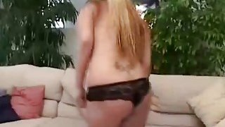 Blonde babe uses strap on to bang stud asshole
