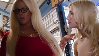 Lusty teen Piper Perri and her mom Alura Jenson get their pussy banged by a black stud