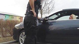 Blonde lady sucks fake cops big cock in car