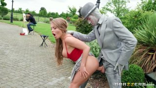 Hot babe Alessandra erects the huge penis of a living statue