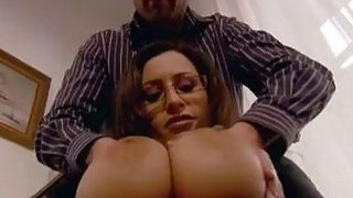 Big breasted secretary bangs with her boss on office desk
