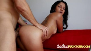 Blowjob Latina sucks white dick throat