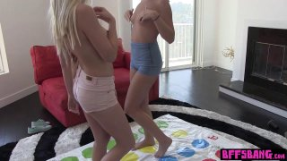 Teen BFFs twister games turned into wild lesbian sex