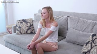 Sexy blonde teen masturbates and is fingered by casting agent