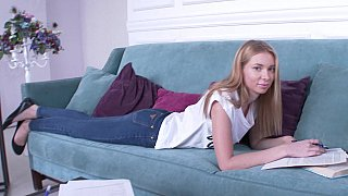 Blond-haired teen seduced while studying